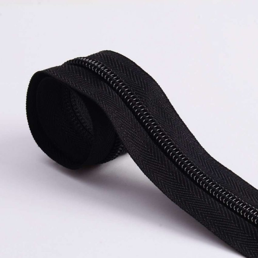 Nylon Zipper Long Chain Black